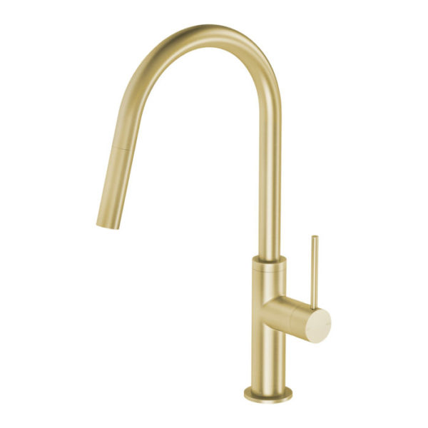 Vivid Slimline Pull Out Sink Mixer Brushed Brass