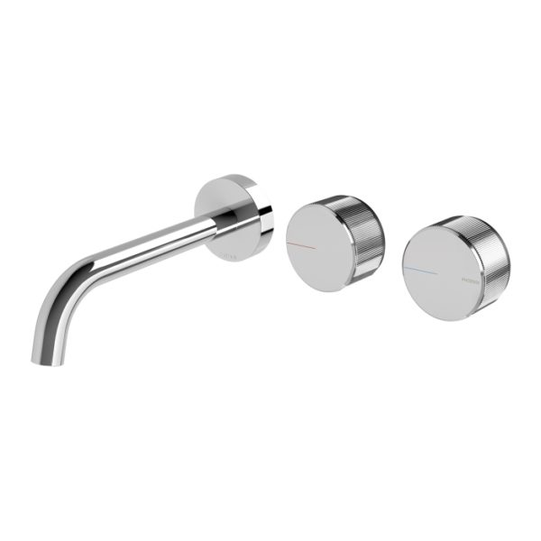 Axia Wall Basin/Bath Curved Outlet Set Brushed Nickel