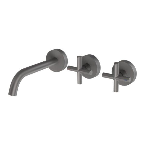 Vivid Slimline Plus Wall Basin Bath Outlet Gun Metal