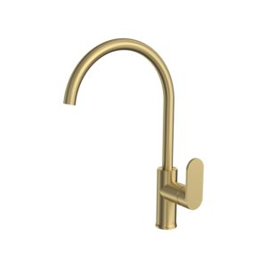 Elli Sink Mixer Pull Out Round Spout Brushed Brass