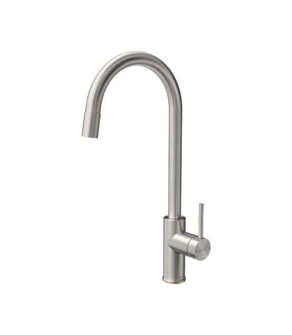 Envy Sink Mixer Round Spout Pull Out Spray Brushed Nickel