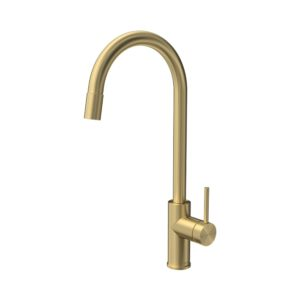 Envy Sink Mixer Round Spout Pull Out Spray Brushed Brass