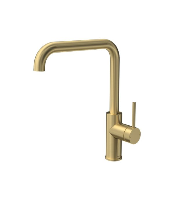 Envy Kitchen Mixer Square Spout Brushed Brass from Parisi.