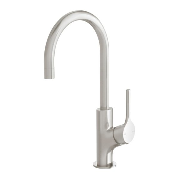 Vivid Slimline Oval Sink Mixer 160mm Gooseneck Brushed Nickel