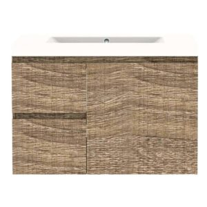 Forme LH 750mm Mont Albert Wall Vanity Walnut Poly Marble Top